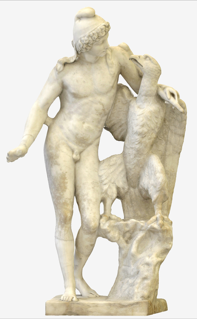 Images of 3D model of statue of Ganimede with eagle