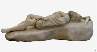 Images of 3D model of statue of falling Gigante