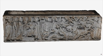 Images of 3D model of sarcophagus of Pelope and Enomao