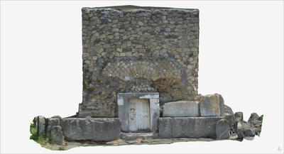 Images of 3D model of Tomb with marble gate (Pompeii Porta Ercolano)