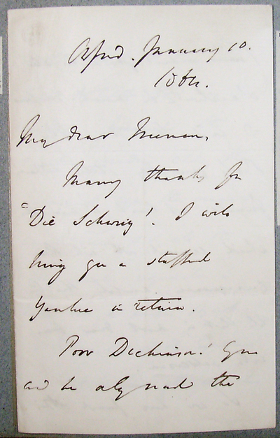[Letter] 1864-01-10, Oxford [to] Edward Augustus Freeman
