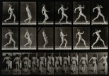 A man running. Photogravure after Eadweard Muybridge, 1887.