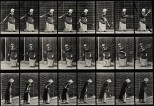 A woman hitting a tennis ball. Photogravure after Eadweard M