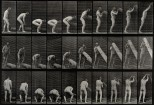 A man lifting a trunk. Photogravure after Eadweard Muybridge