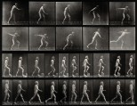 E. Muybridge throwing a disc, ascending stairs, and walking.