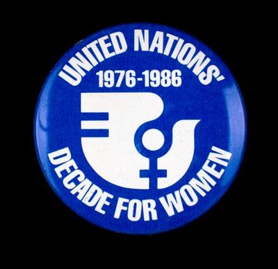Button. 'United Nations' Decade for Women 1976-1986'