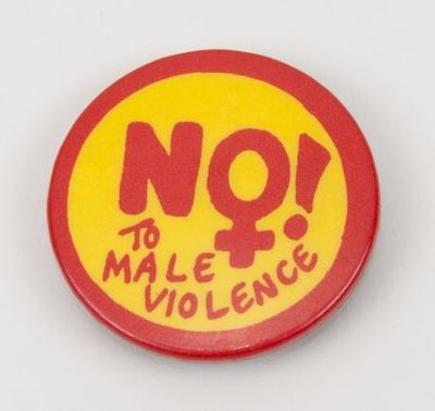 Button. 'No! to male violence'