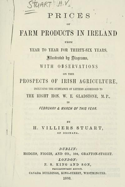 Prices of farm products in Ireland from year to year for thirty- six years, illustrated by diagrams, with observations on the prospects of Irish agriculture, including the substance of letters addressed to the Right Hon. W.E. Gladstone in February and March of this year.