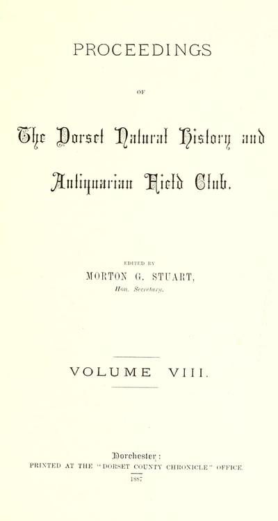 Proceedings - Dorset Natural History and Archaeological Society.