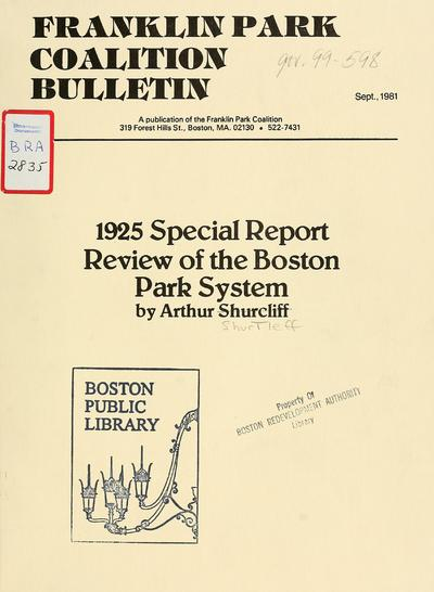 Two special reports of the parks department 1924 and 1925.