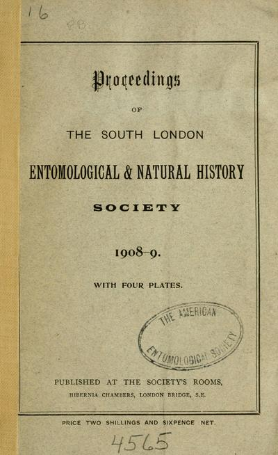 Proceedings of the South London Entomological & Natural History Society.
