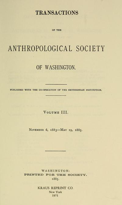 Transactions of the Anthropological Society of Washington.