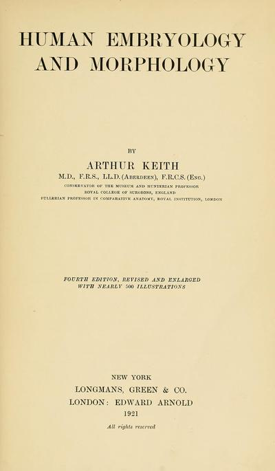 Human embryology and morphology; by Arthur Keith ...