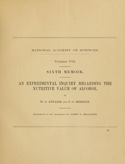 An experimental inquiry regarding the nutritive value of alcohol / by W.O. Atwater and F.G. Benedict.