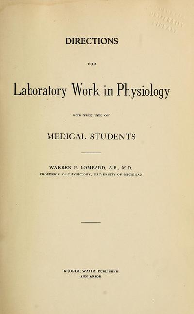 Directions for laboratory work in physiology,