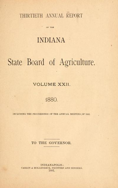 Report of the Indiana State Board of Agriculture