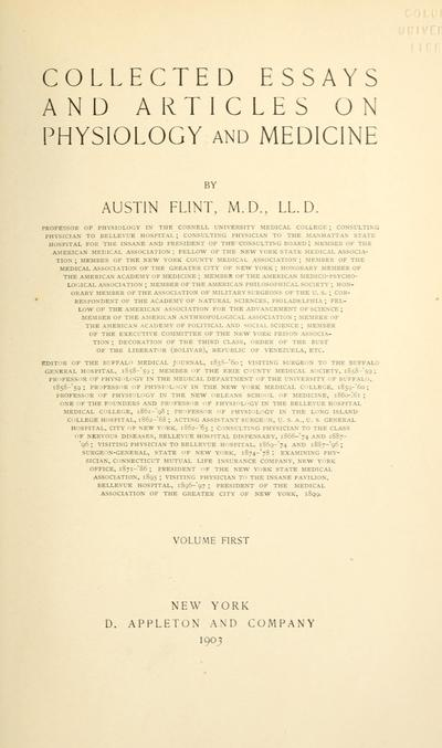 Collected essays and articles on physiology and medicine / by Austin Flint.