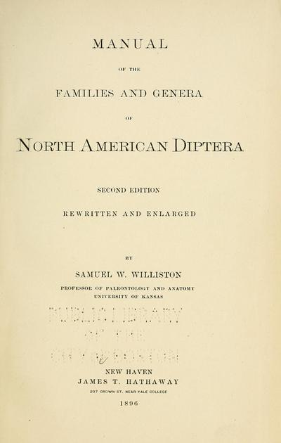Manual of the families and genera of North American Diptera.