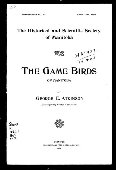 The game birds of Manitoba by George E. Atkinson.