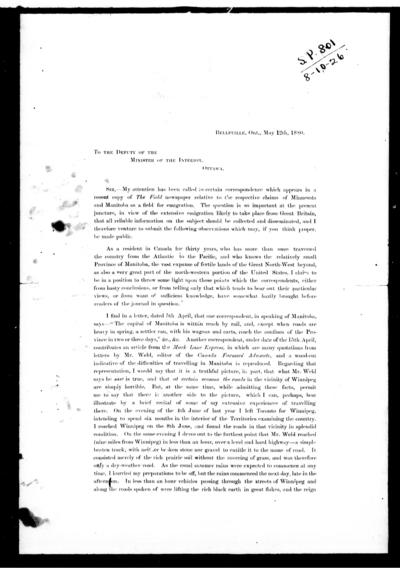 [Letter] to the deputy of the minister of the Interior, Ottawa / [John Macoun].