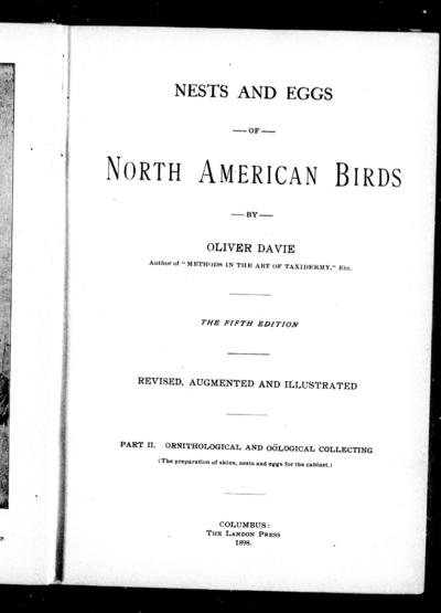 Nests and eggs of North American birds by Oliver Davie.