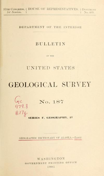 Geographic dictionary of Alaska, by Marcus Baker.