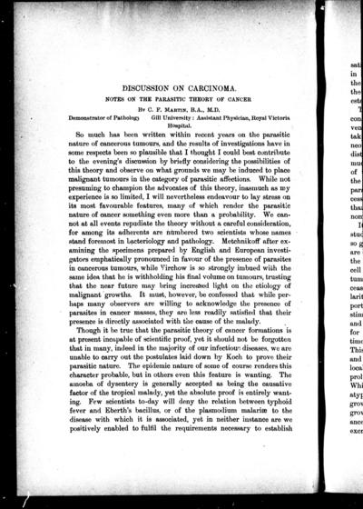 Discussion on carcinoma notes on the parasitic theory of cancer / by C.F. Martin.