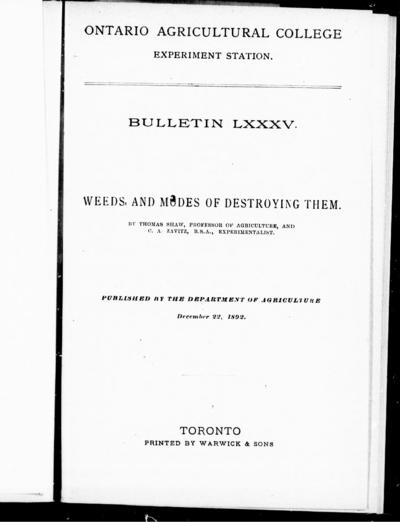 Weeds, and modes of destroying them by Thomas Shaw and C.A. Zavitz.