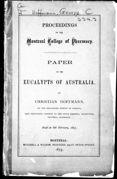 Paper on the eucalypts of Australia by Christian Hoffmann.