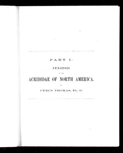 Synopsis of the Acrididae of North America by Cyrus Thomas.