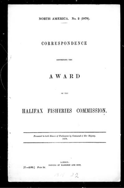Correspondence respecting the award of the Halifax Fisheries Commission