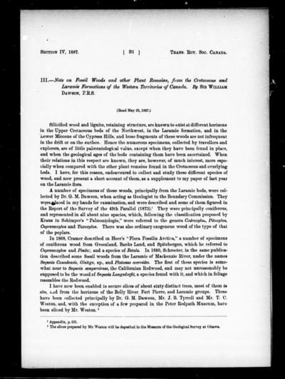 Note on fossil woods and other plant remains, from the Cretaceous and Laramie formations of the western territories of Canada by Sir William Dawson.