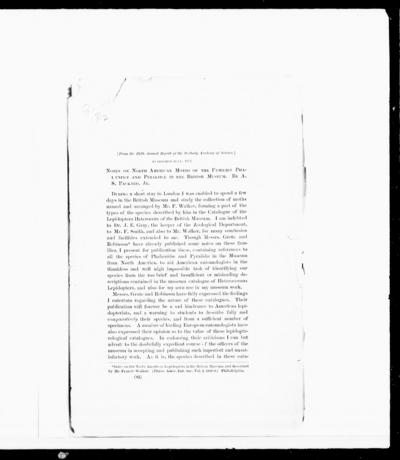 Notes on North American moths of the families Phalaenidae and Pyralidae in the British museum by A.S. Packard.