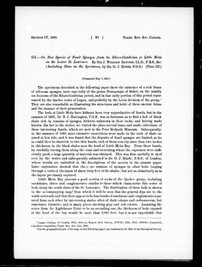 On new species of fossil sponges from the Siluro-Cambrian at Little Metis on the lower St. Lawrence by Sir J. William Dawson.