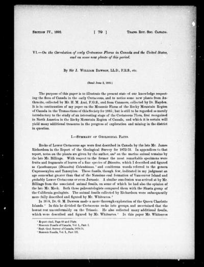 On the correlation of early Cretaceous floras in Canada and the United States, and on some new plants of this period by Sir J. William Dawson.