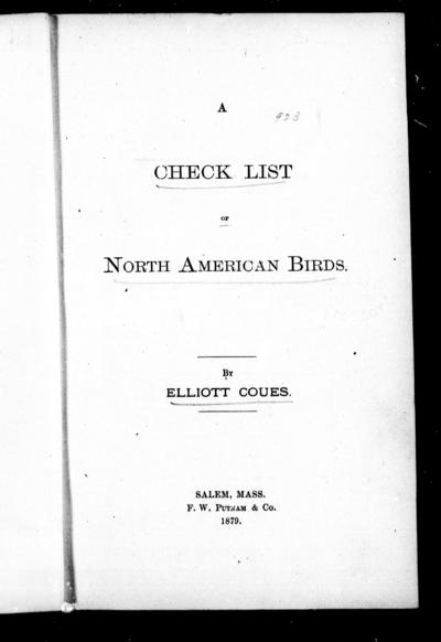 A check list of North-American birds by Elliott Coues.
