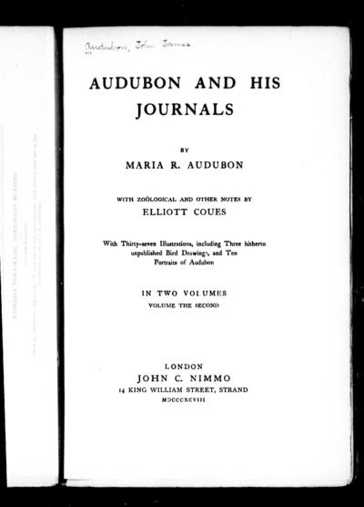 Audubon and his journals by Maria R. Audubon ; with zoölogical and other notes by Elliott Coues.