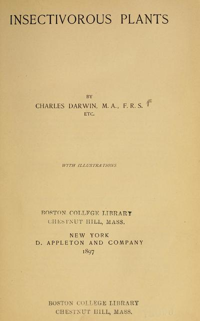 Insectivorous plants / by Charles Darwin.