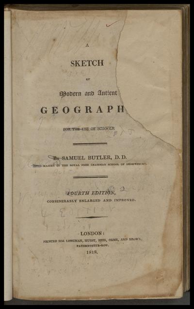 A sketch of modern and ancient geography for the use of schools.