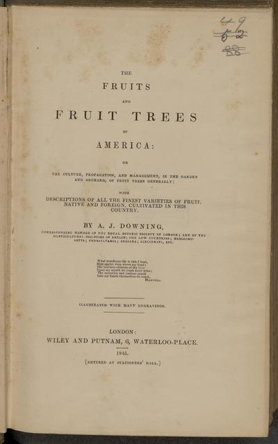 The fruits and fruit trees of America.