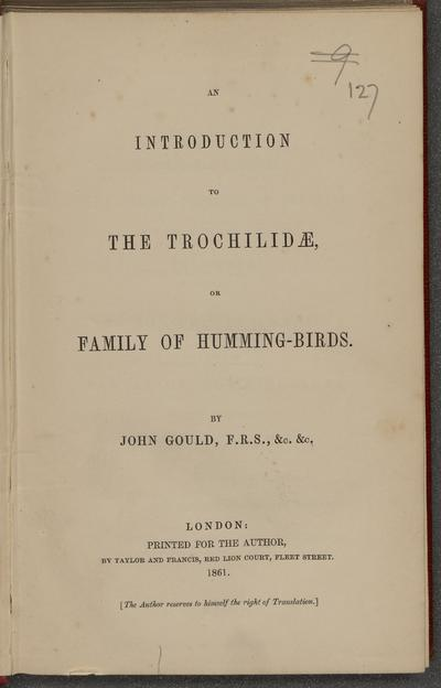 An introduction to the Trochilidae, or family of humming-birds.