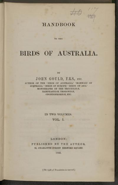 Handbook to The birds of Australia. By John Gould.