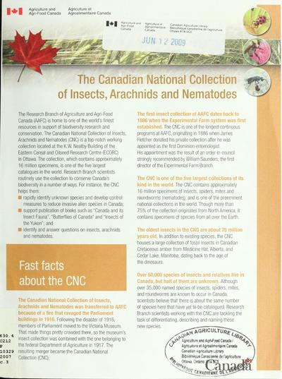 The Canadian National Collection of Insects, Arachnids and Nematodes.