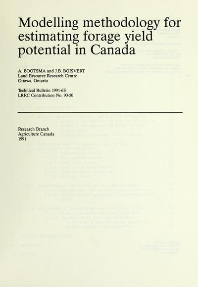 Modelling methodology for estimating forage yield potential in Canada /