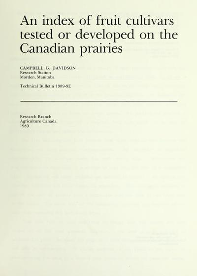 An index of fruit cultivars tested or developed on the Canadian prairies /
