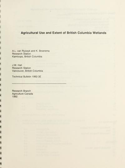 Agricultural use and extent of British Columbia wetlands /