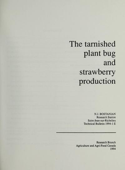 The tarnished plant bug and strawberry production /