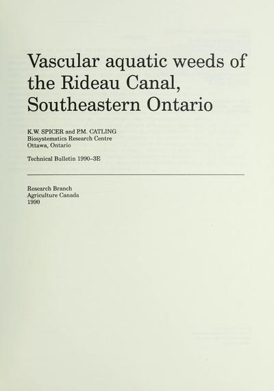 Vascular aquatic weeds of the Rideau Canal, southeastern Ontario /