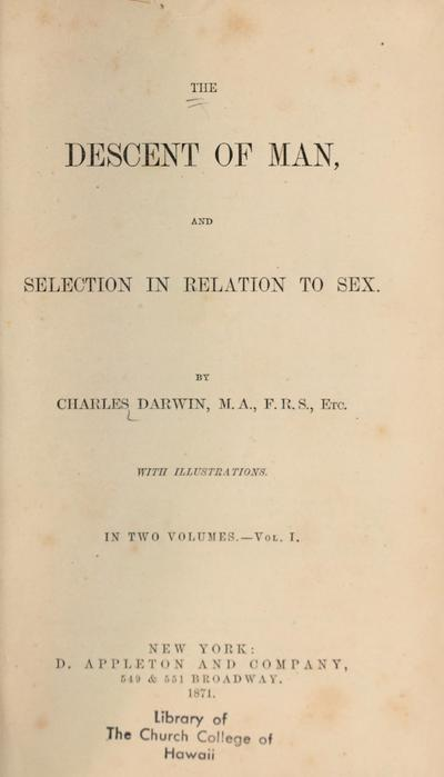 The descent of man and selection in relation to sex,
