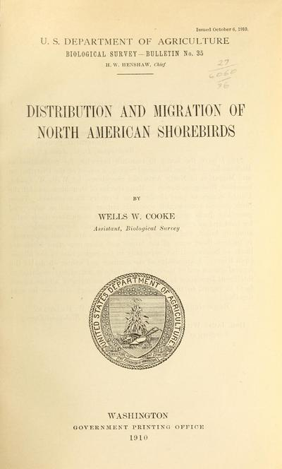 Distribution and migration of North American shorebirds /